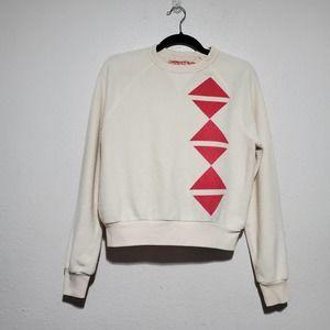 Supermaggie Cream Sweater Pullover Red Triangles Women's Medium Austin Texas